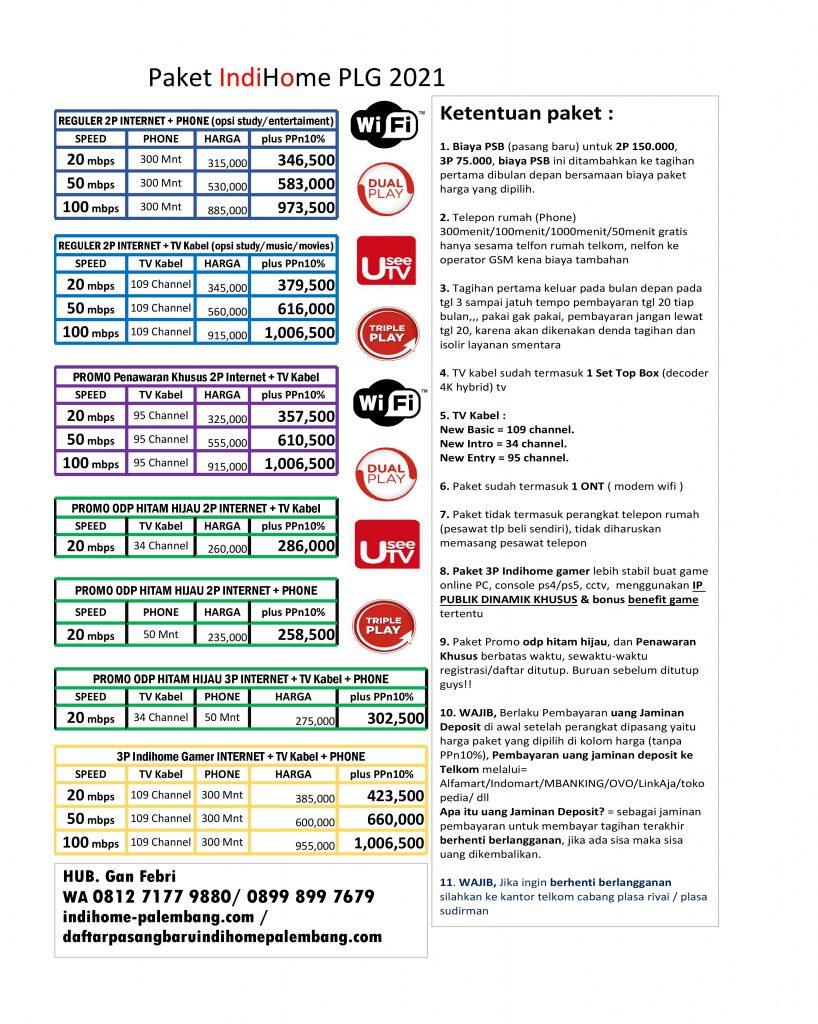 paket internet TV channel indihome 2021 palembang